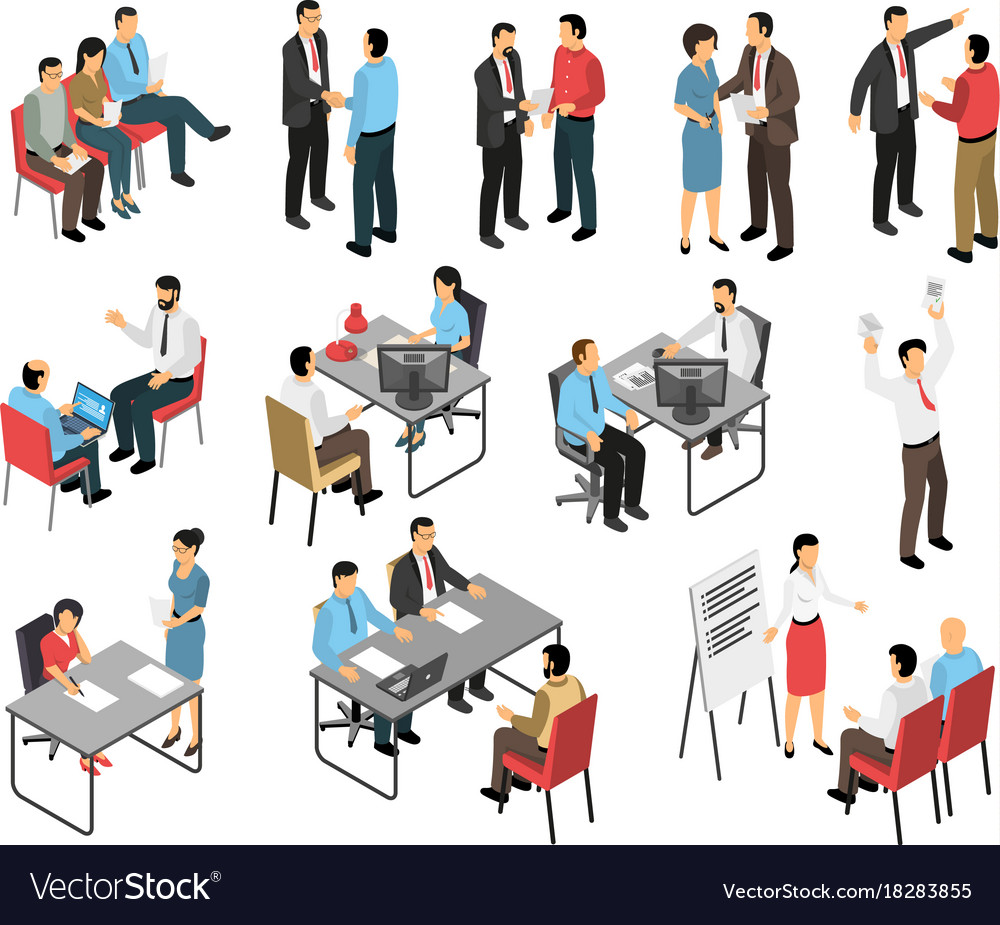 Job interview respondents set vector image