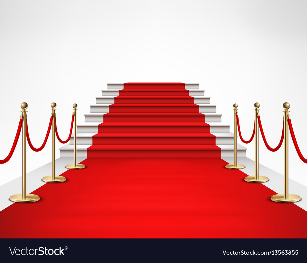 Red carpet white stairs realistic