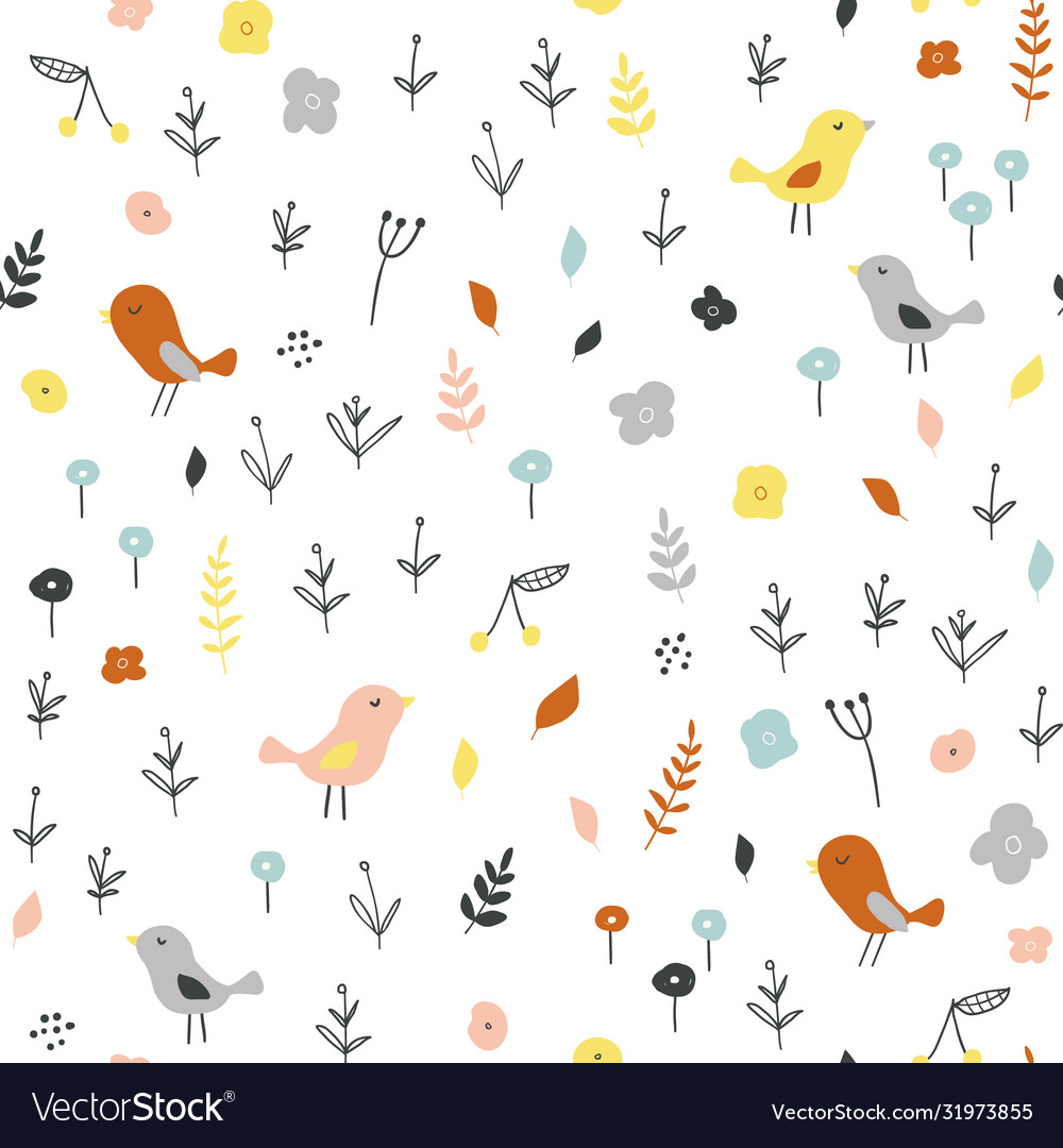 Seamless childish pattern with tiny birds and
