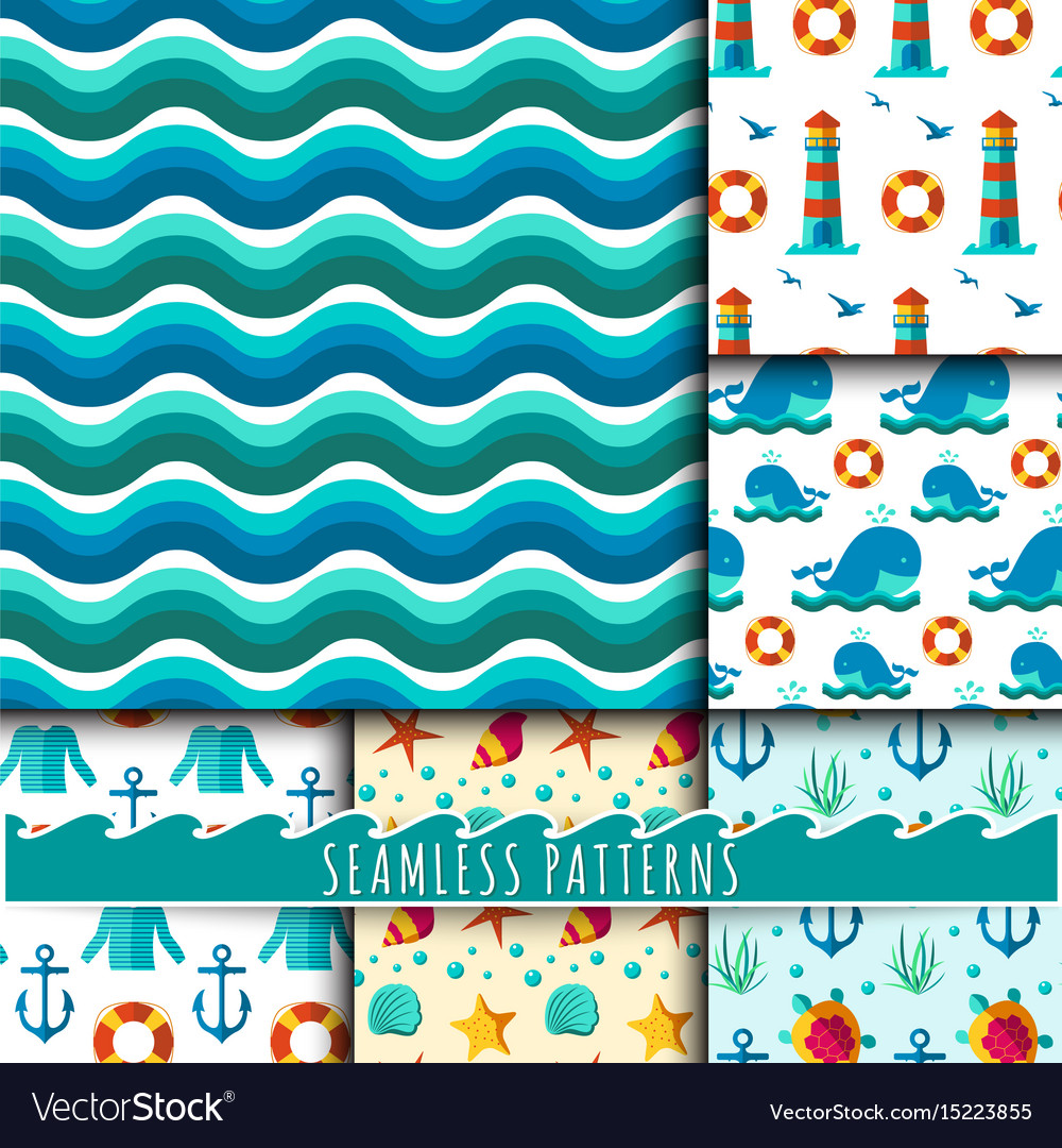 Seamless patterns with nautical elements