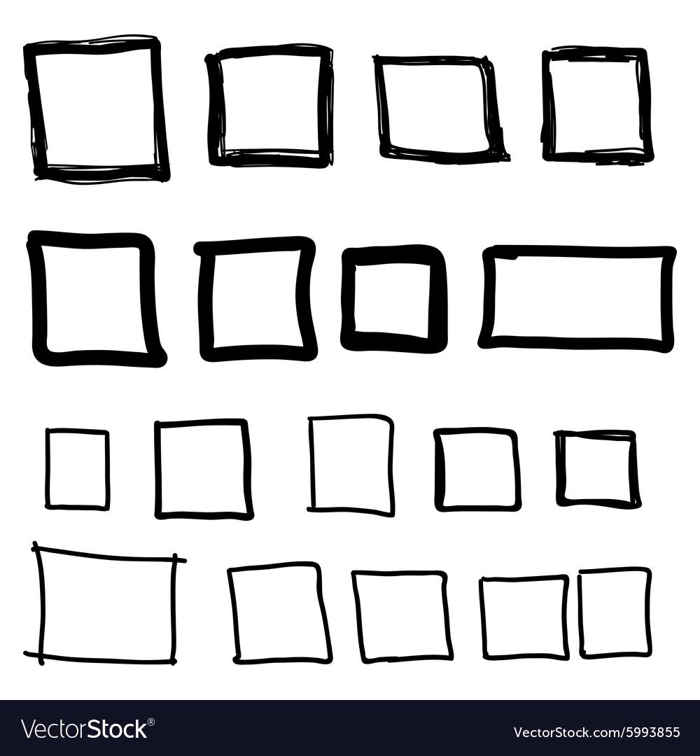 Set Hand Drawn Square Royalty Free Vector Image