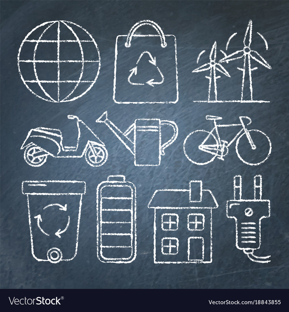 Set of ecology icons in sketch style on chalkboard