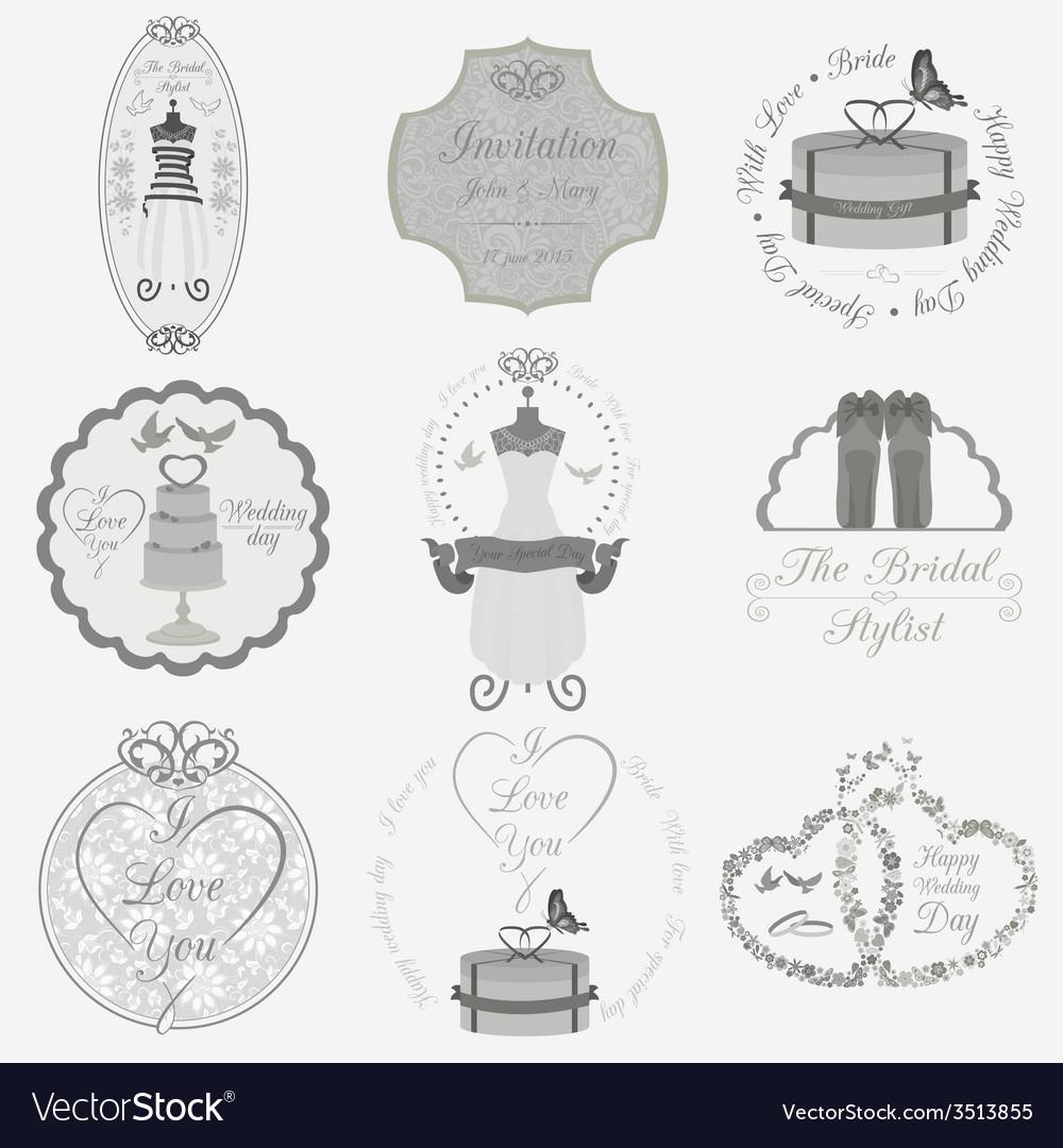 Set of vintage wedding and wedding fashion style vector image