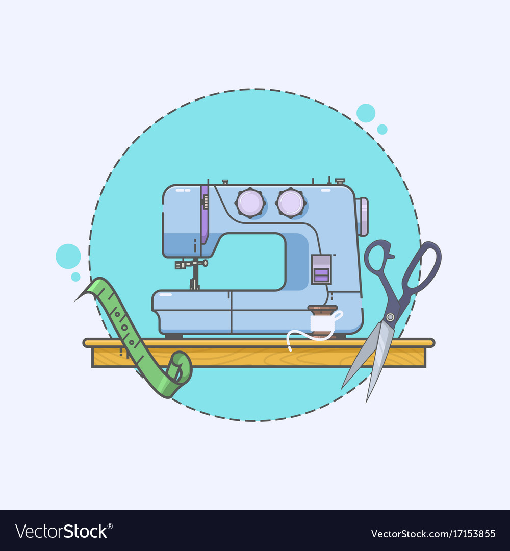 Sewing machine icon embroidery sign linear icons