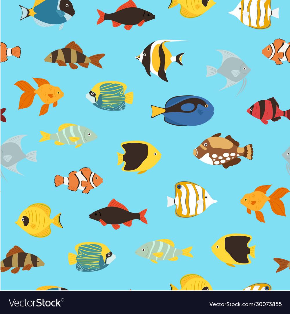Tropical fishes coral reef for aquarium cartoon