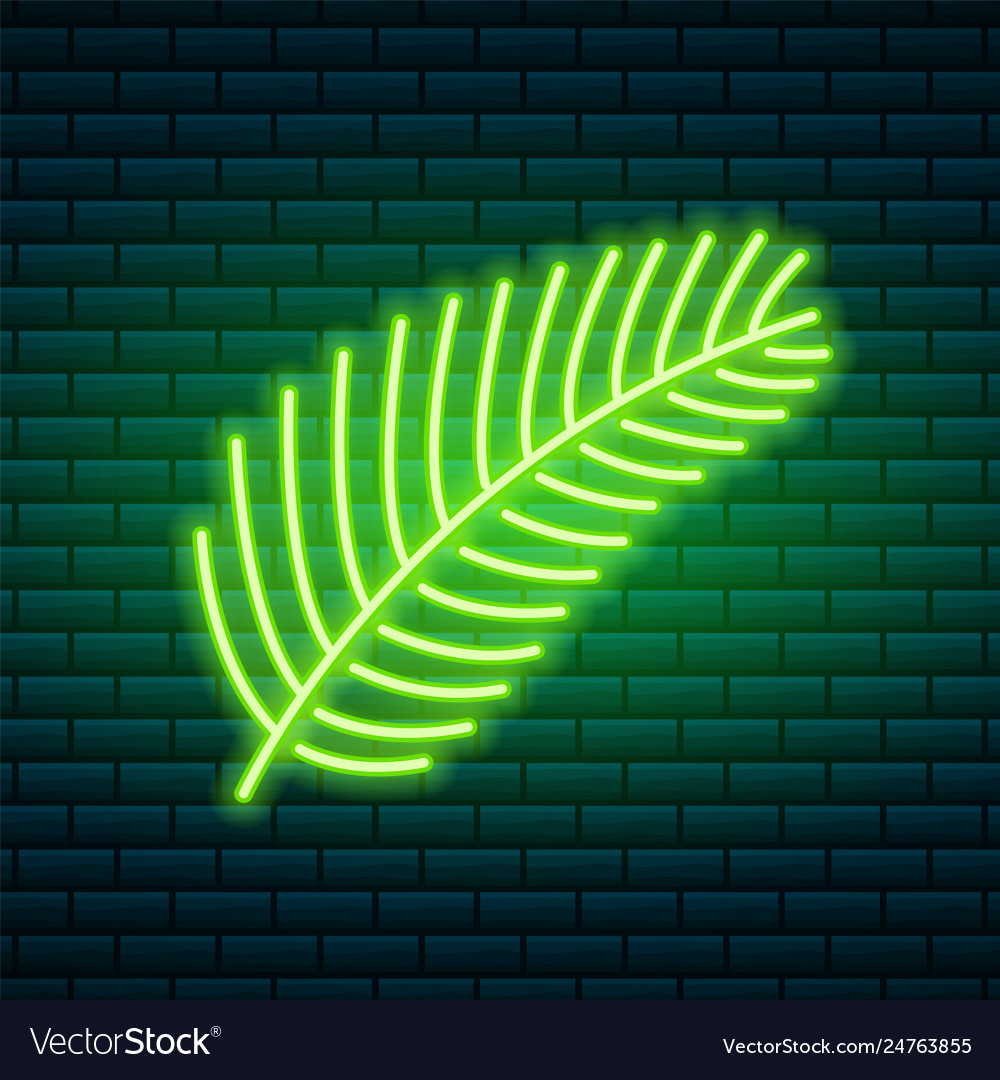 Tropical neon sign green plant or leaves night