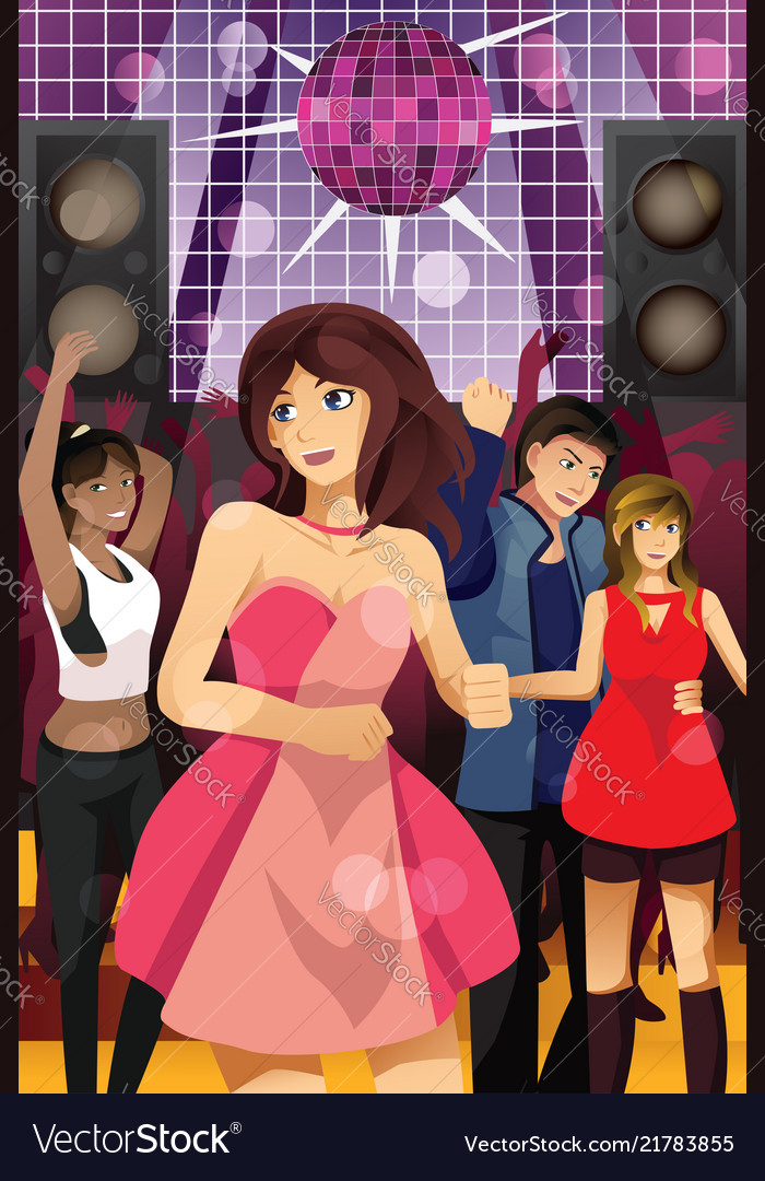 Young people dancing in a club