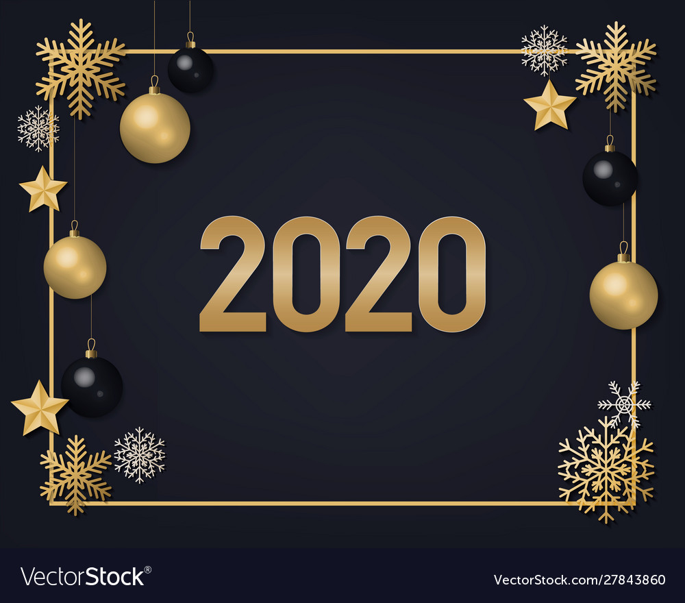 2020 golden numbers with snowflakes