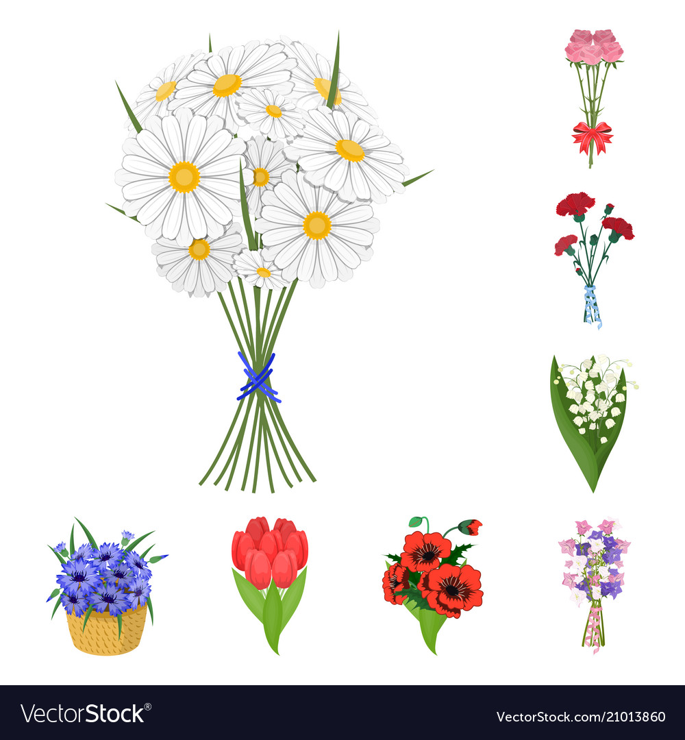 A bouquet of fresh flowers cartoon icons in set vector image izmirmasajfo
