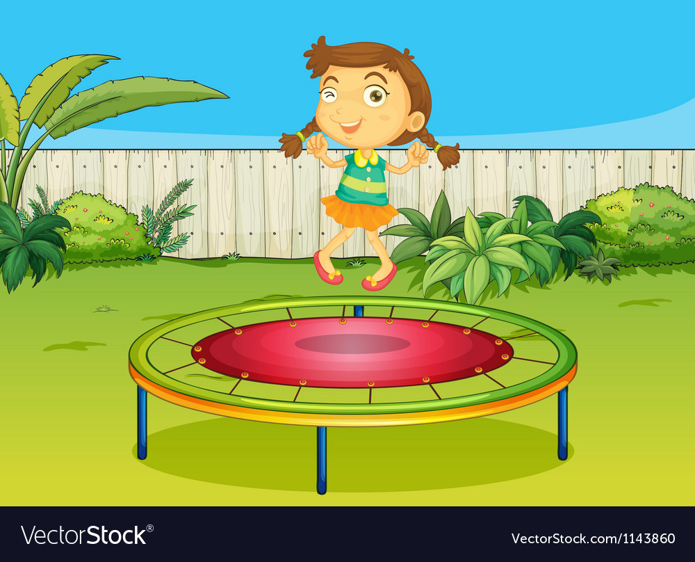 A girl playing on trampoline