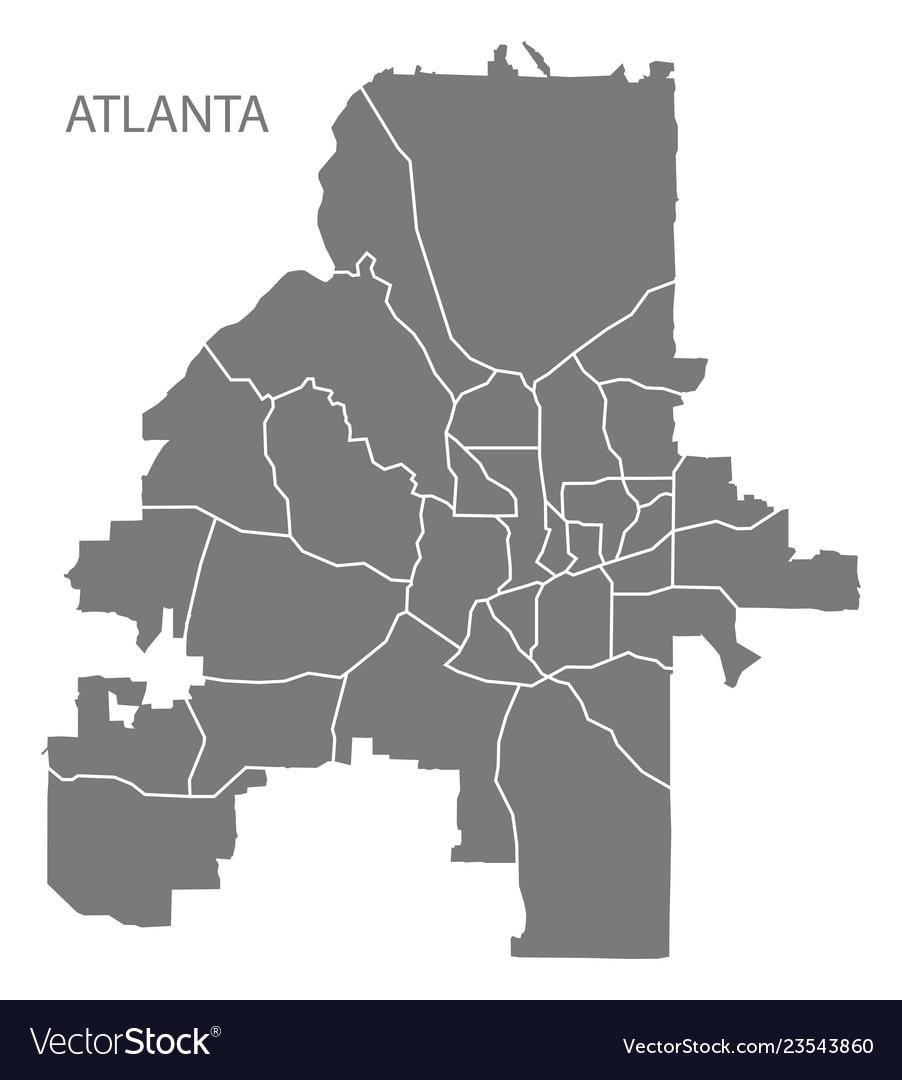 City Map Of Atlanta Georgia.Atlanta Georgia City Map With Neighborhoods Grey Vector Image