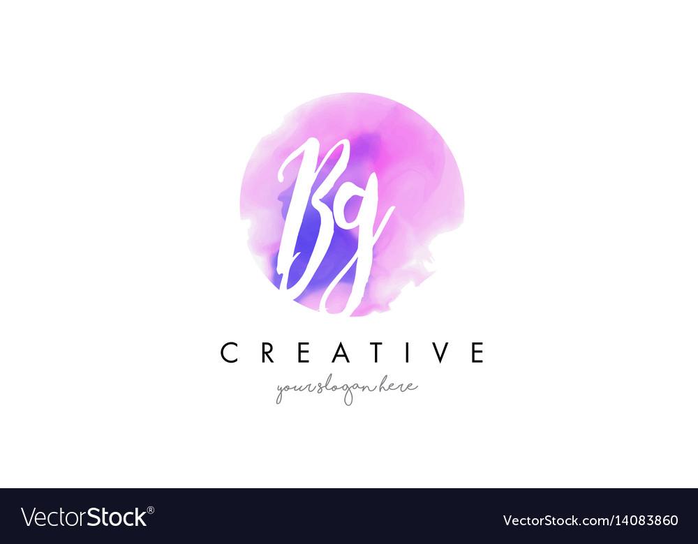 Bg watercolor letter logo design with purple