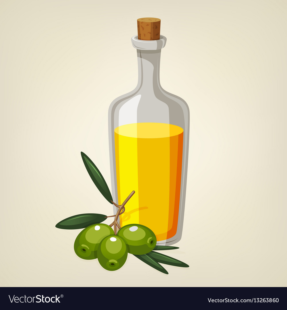 Bottle of olive oil with a branch of olives
