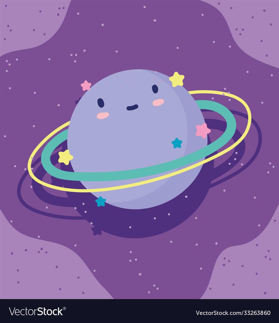 Cartoon saturn planet stars sky decoration purple