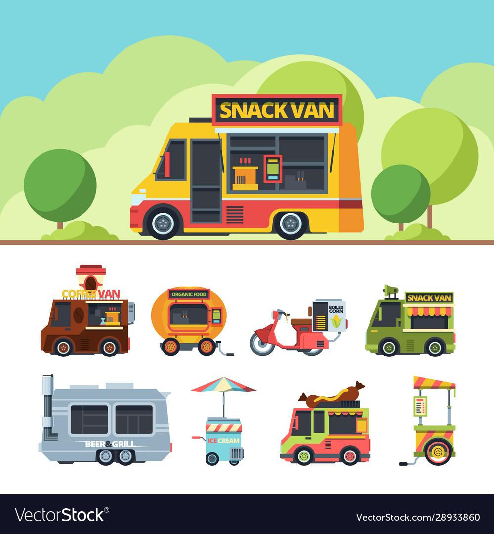 Food truck colorful flat set