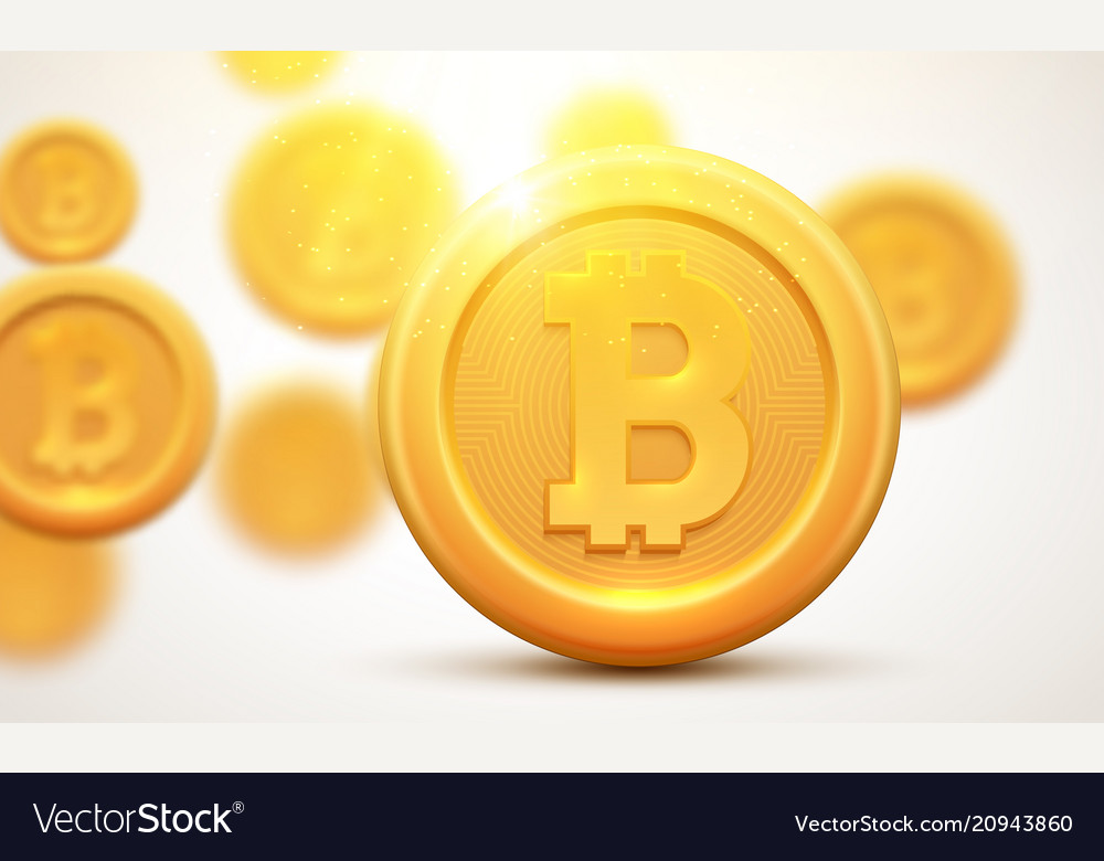 Golden coin bitcoin sign symbol cryptocurrency
