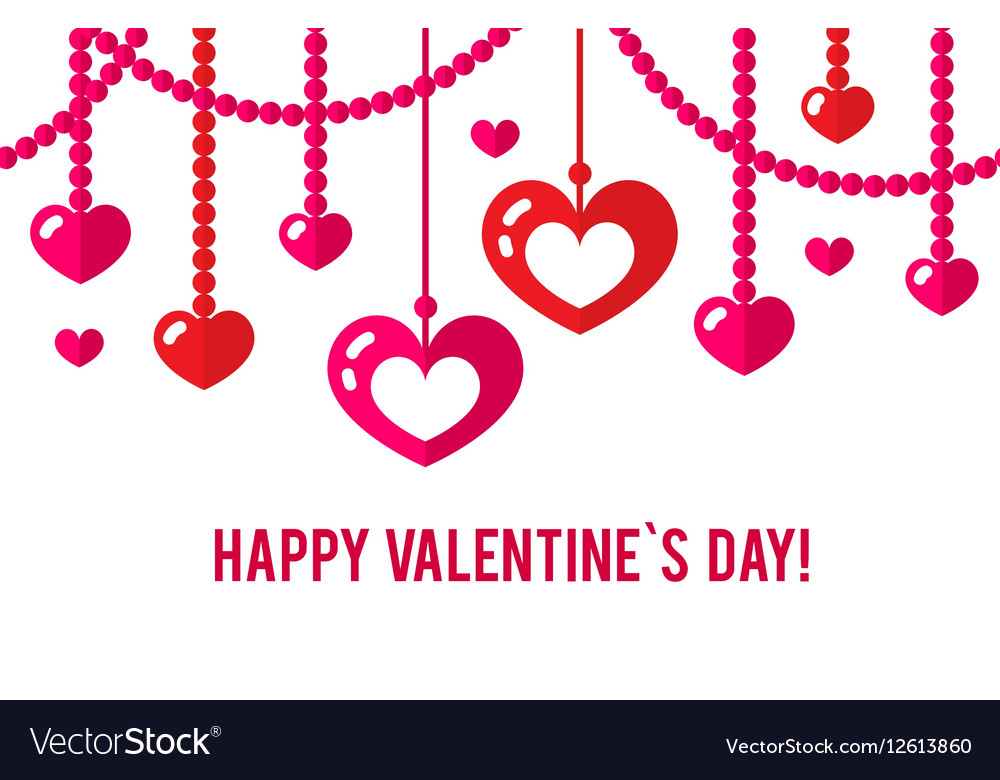 Happy valentines day card with red flat heart