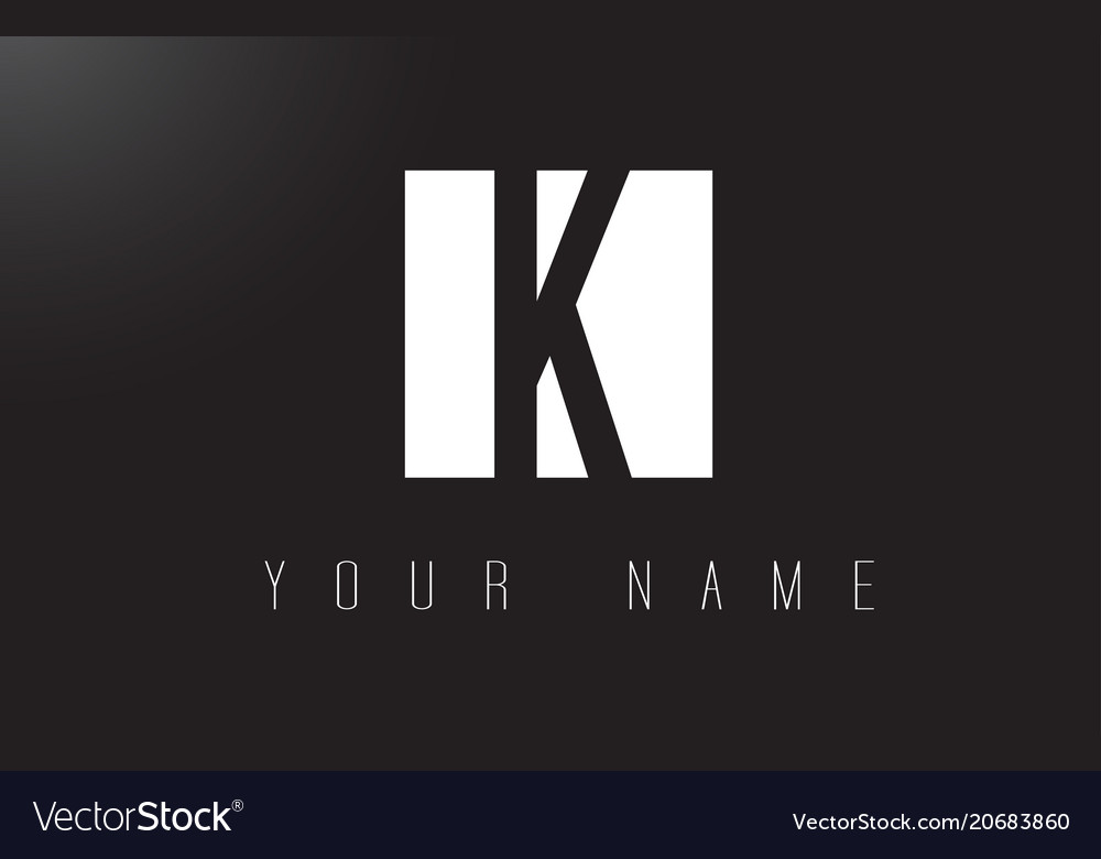 K letter logo with black and white negative space