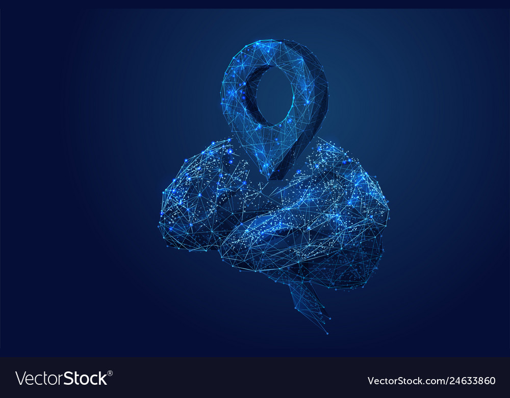 Pin and brain low poly blue