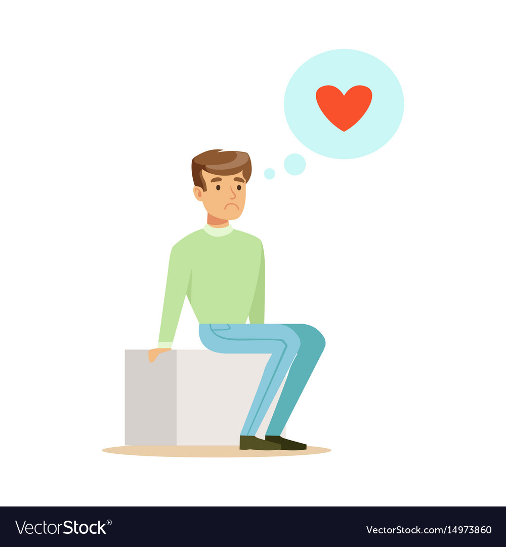 Sad lonely man in love sitting and dreaming vector image