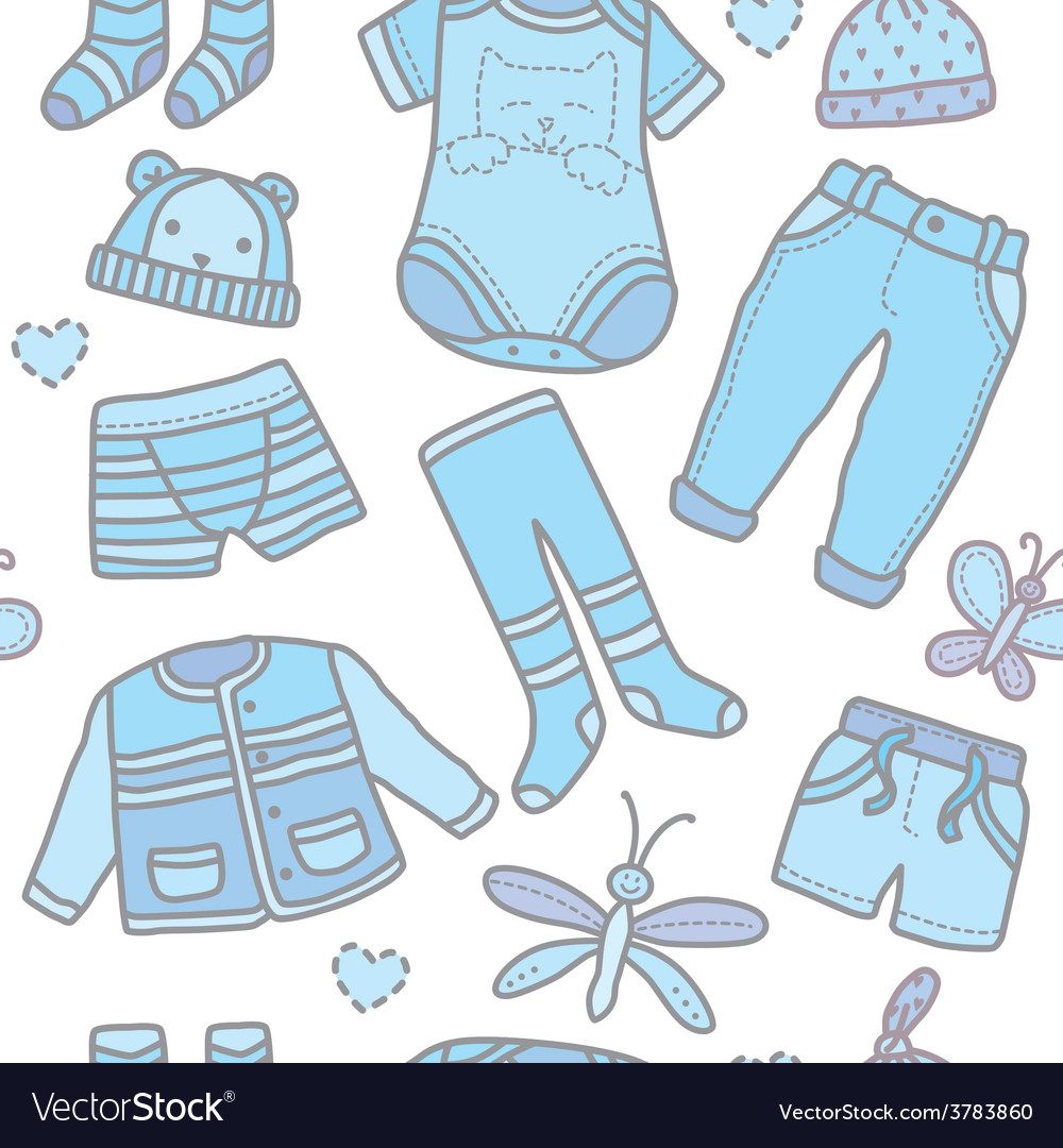 863383e6d Seamless pattern baby boy clothes Royalty Free Vector Image