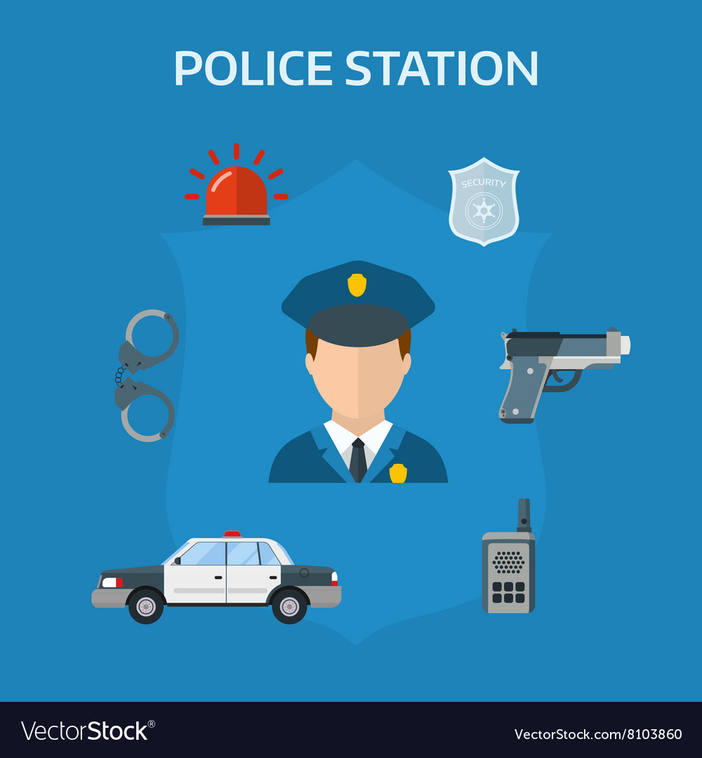 Security elements of the police equipment symbols