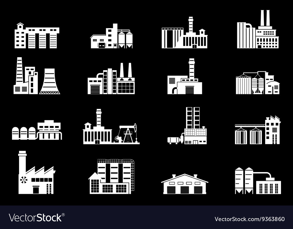 Set of industry manufactory building icons Plant