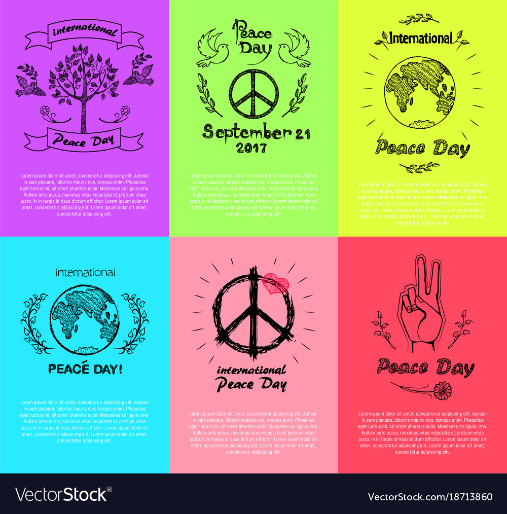 Set of posters for peace day