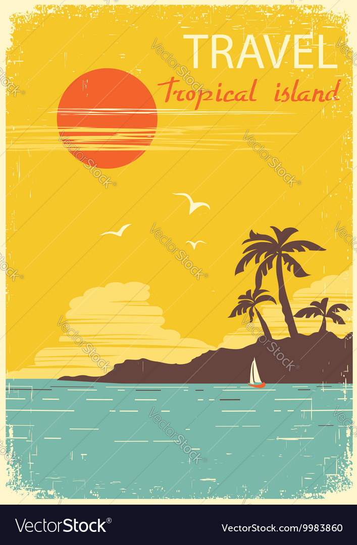 Tropical island paradise summer sun poster
