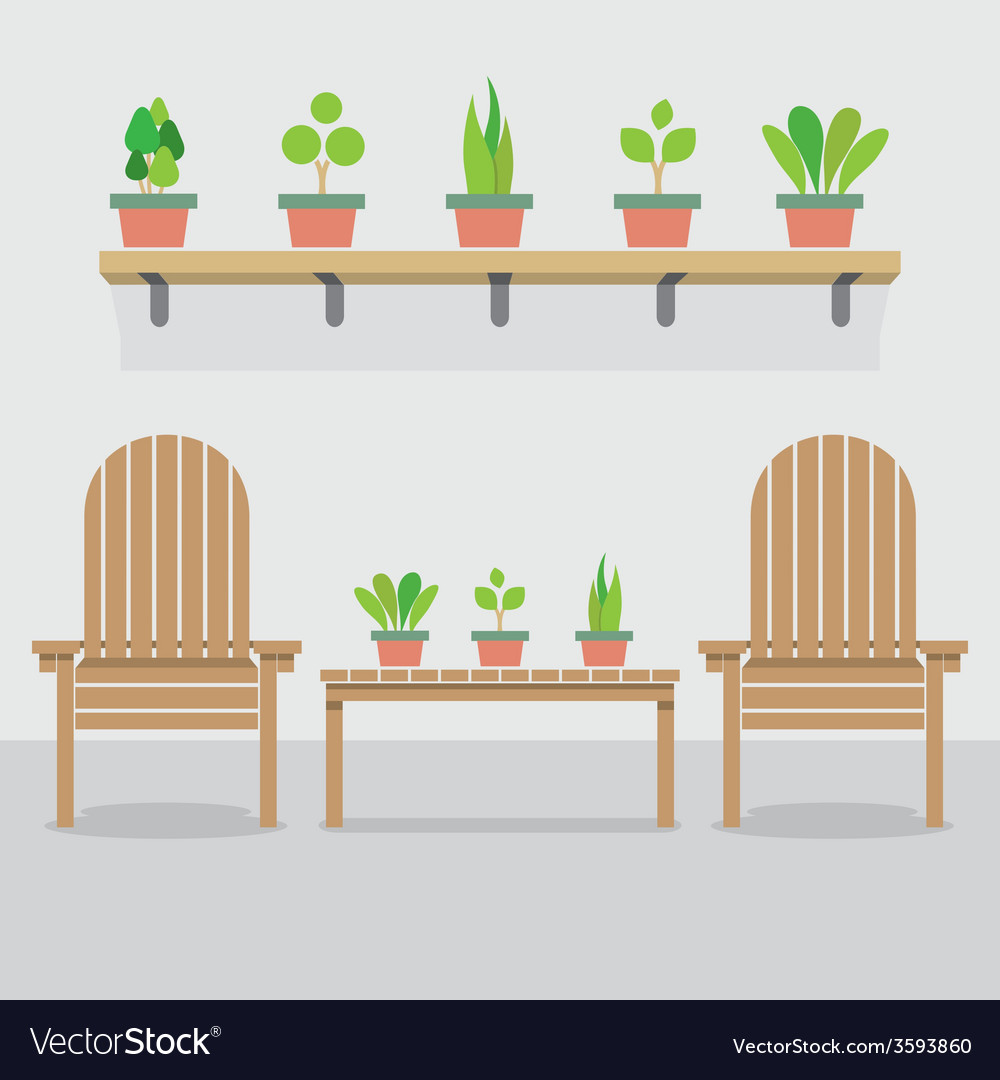 Pleasant Wooden Garden Chairs And Pot Plants Caraccident5 Cool Chair Designs And Ideas Caraccident5Info