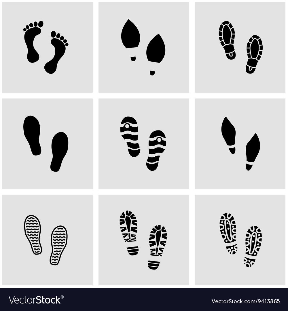 Black shoes imprints icon set vector image