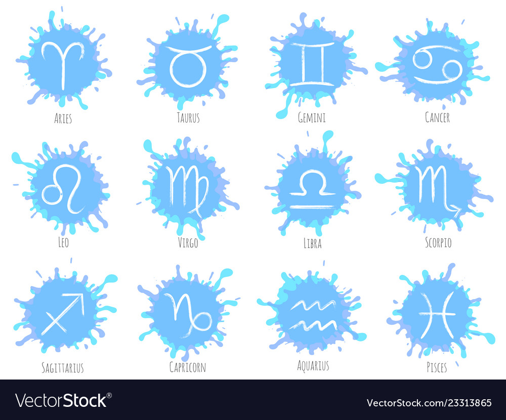 Blue zodiac symbols set astrology signs