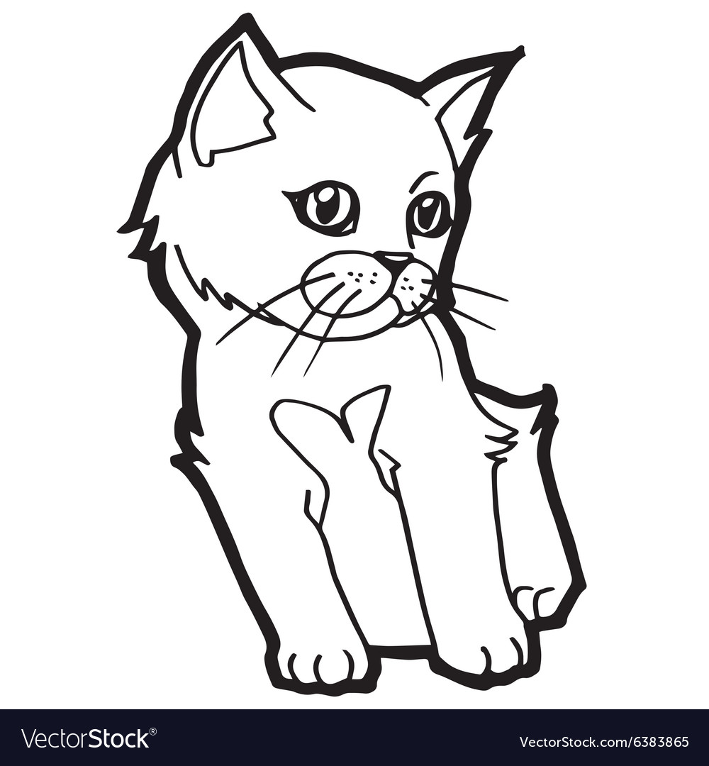 Cat And Kitten Coloring Page Royalty Free Vector Image
