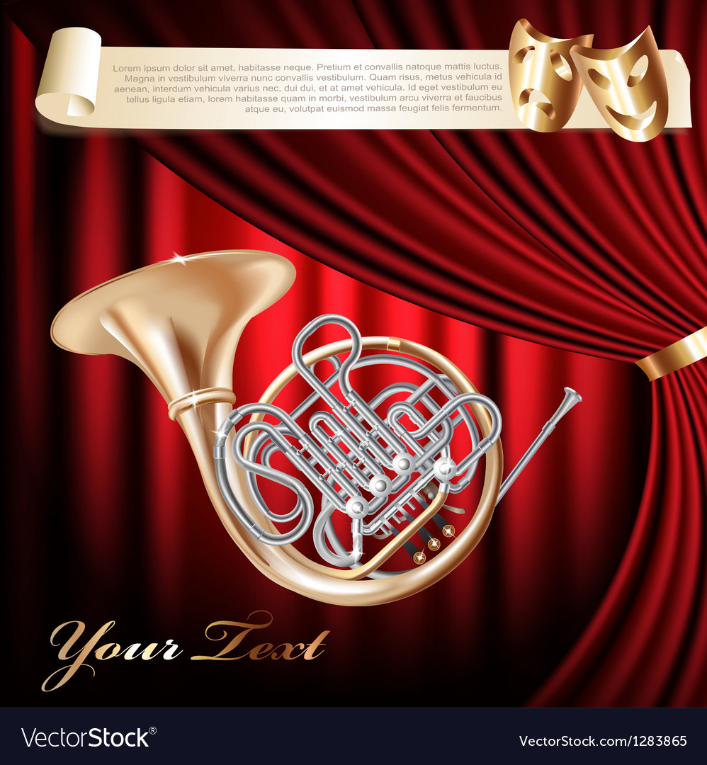 Classical French horn vector image