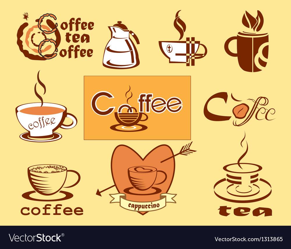 Coffee logotype menu icons vector image