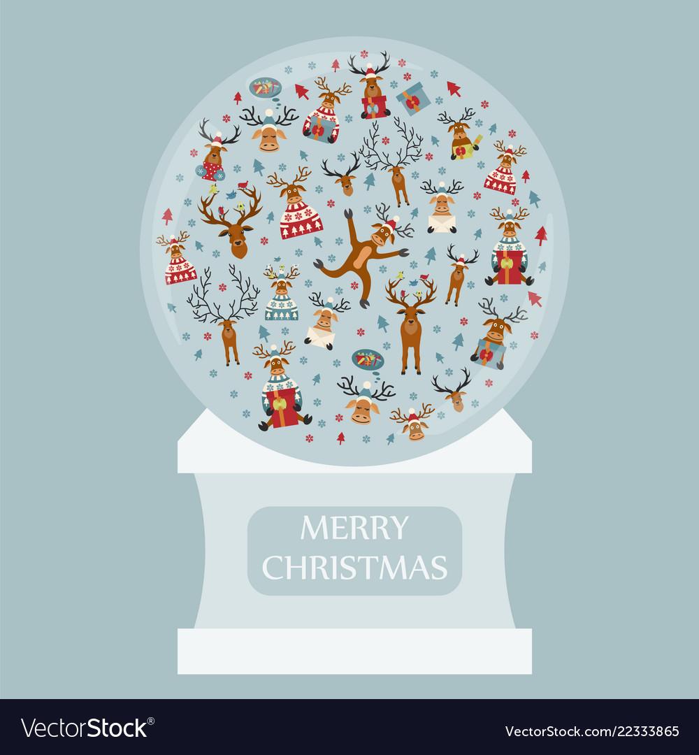 Cute reindeer sticker icon set snow globe design