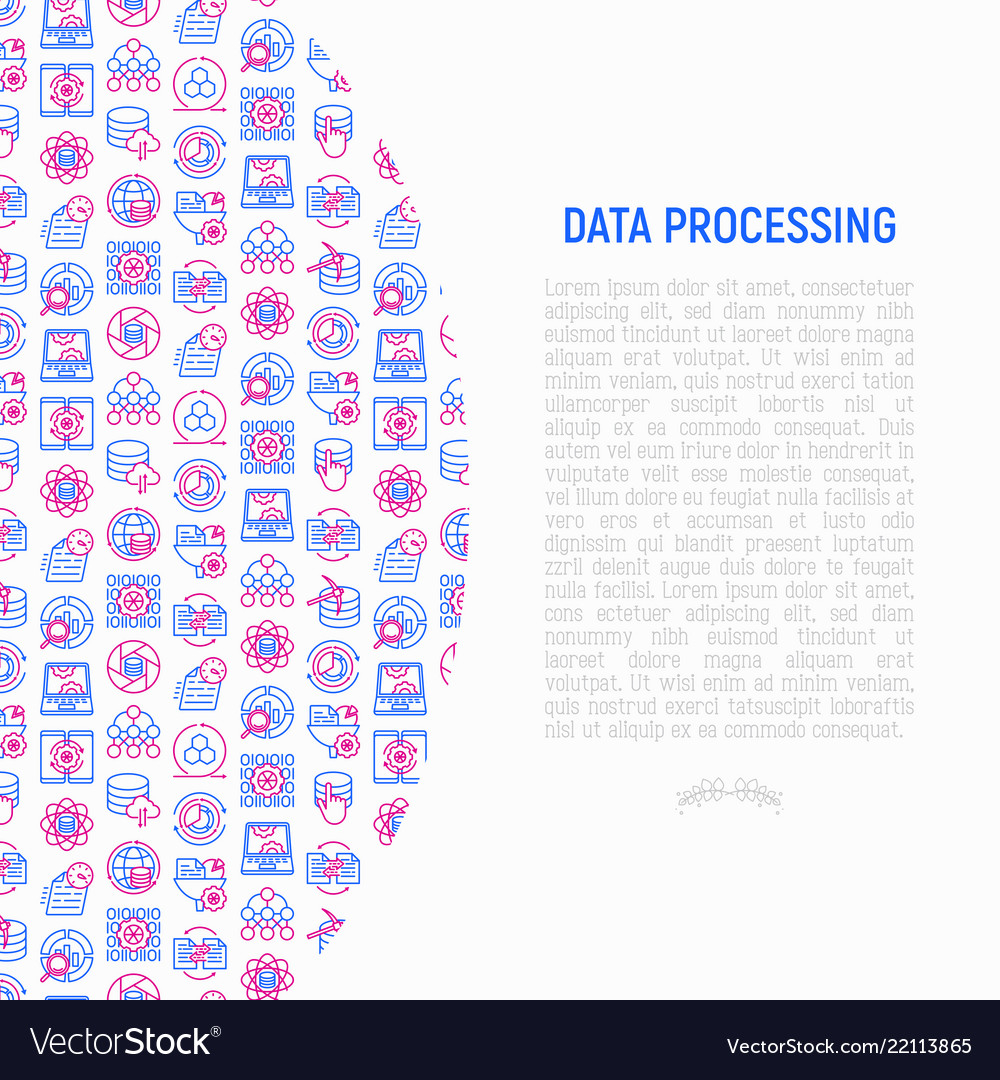 Data processing concept with thin line icons