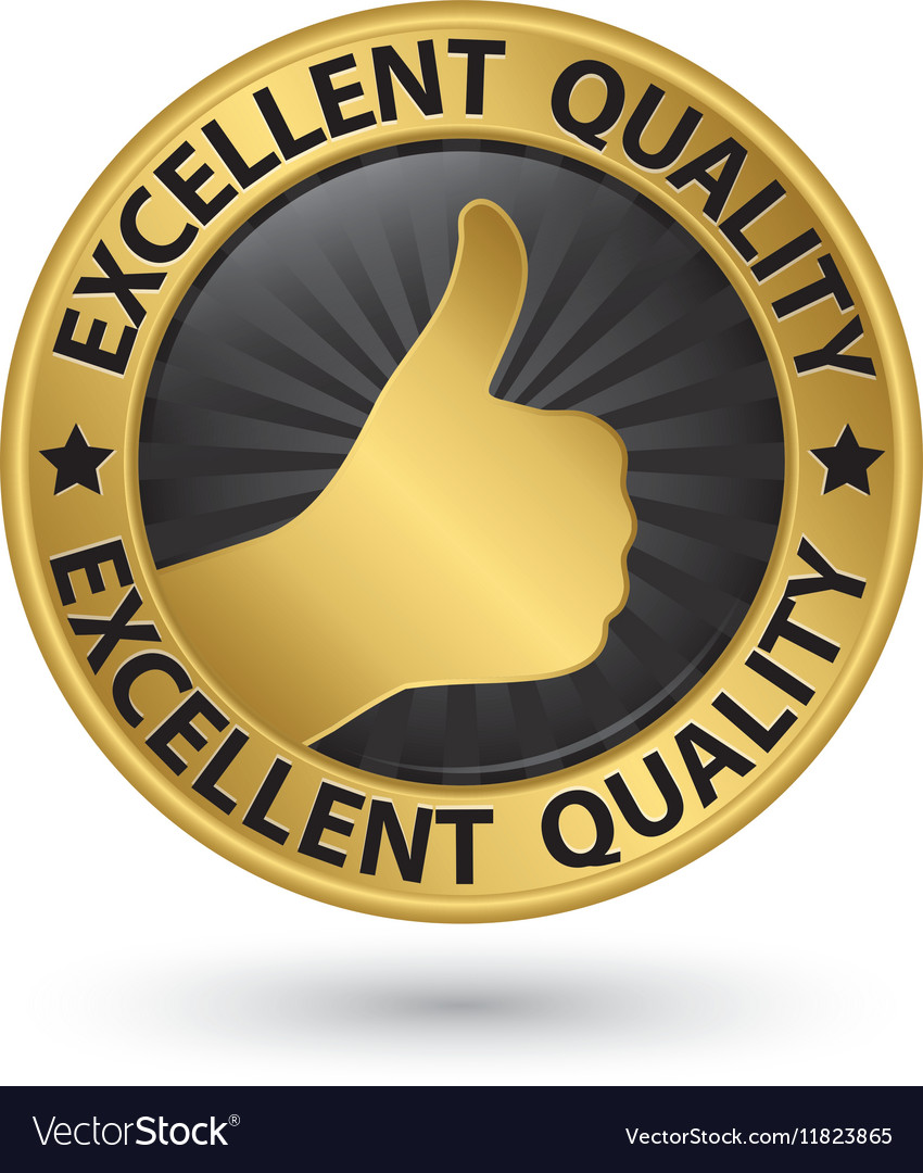 Excellent quality golden sign with thumb up vector image