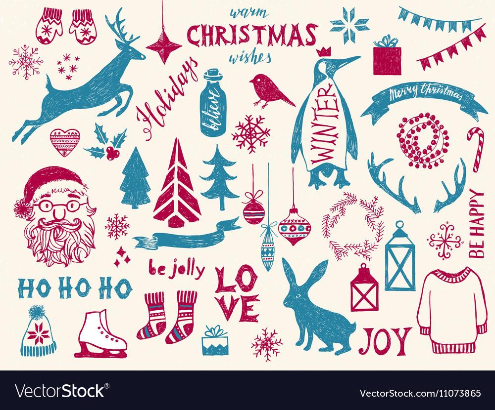 Hand drawn Christmas design elements