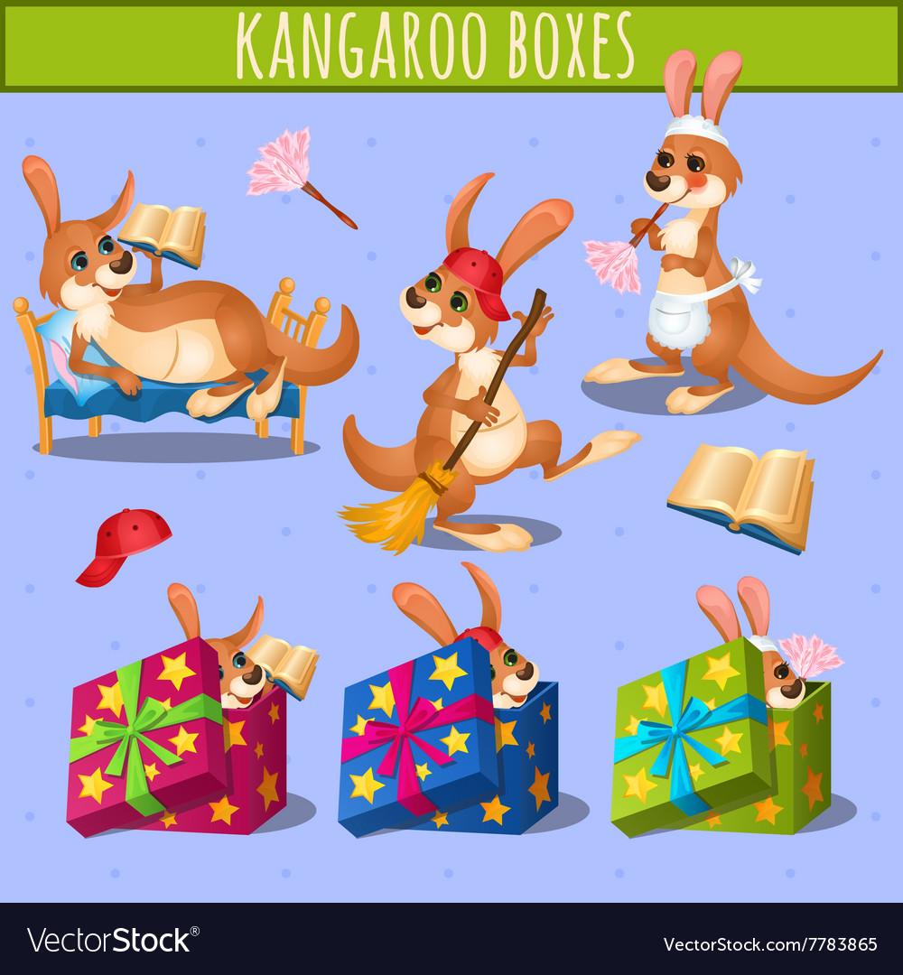 Home care cute kangaroo and gift boxes