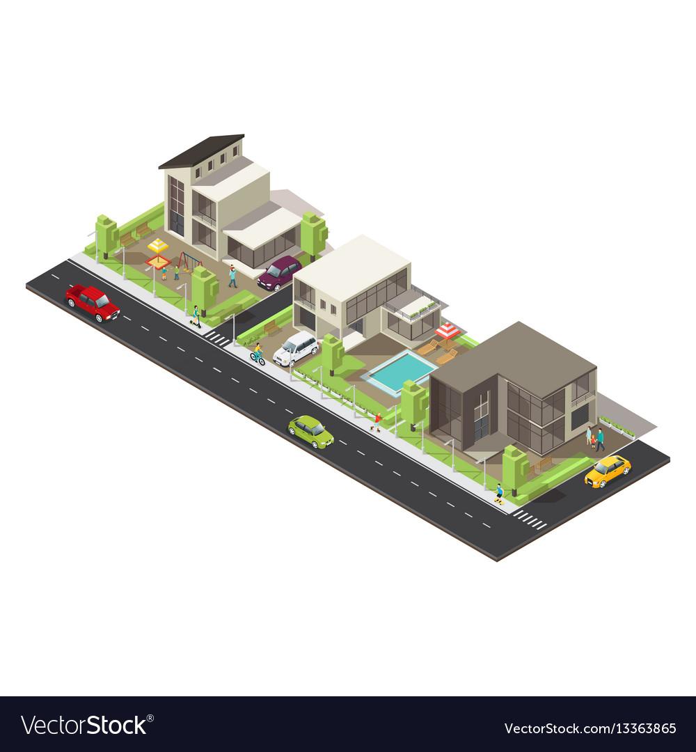 Isometric suburban district concept vector image