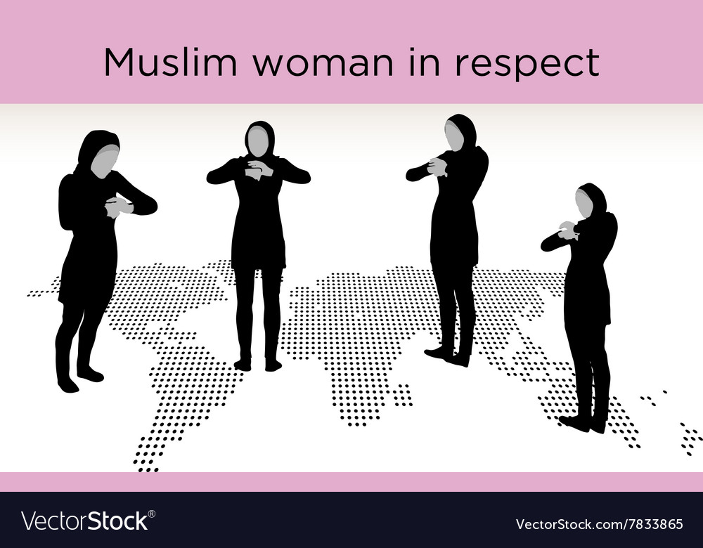 Muslim woman silhouette in respect pose