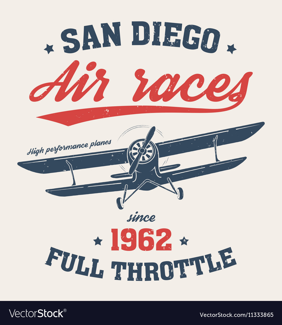 San diego t shirt with old airplane