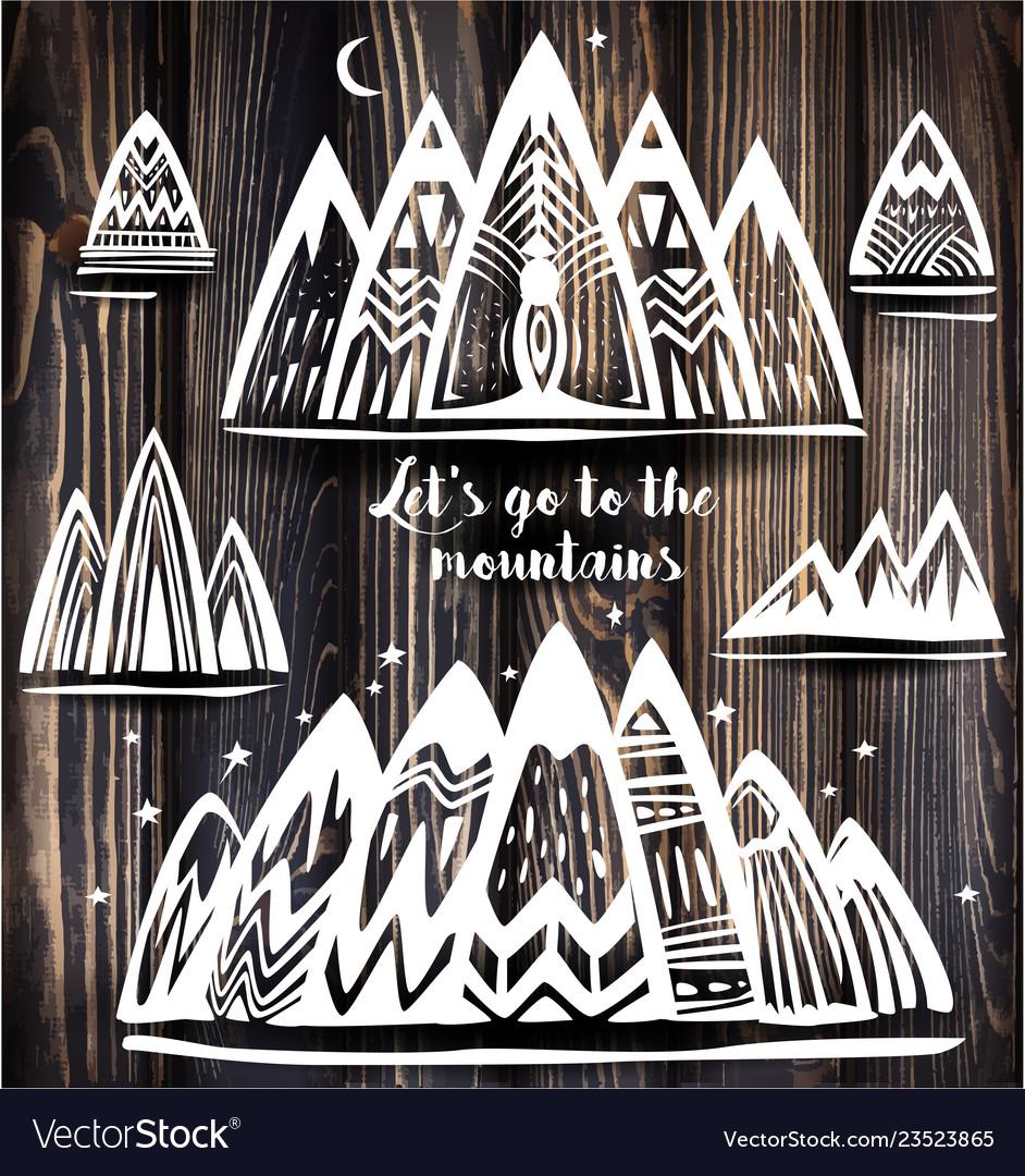 Set of geometric mountains symbols