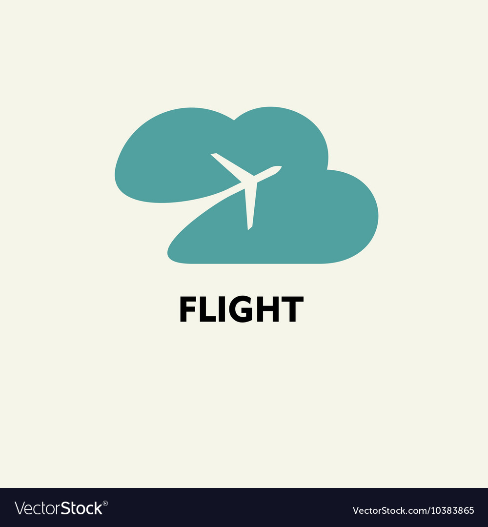 Silhouette of flying plane in the cloud Template