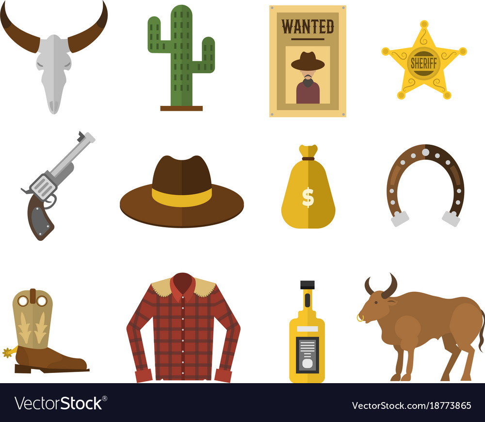 Wild west cowboy icons rodeo equipment and many