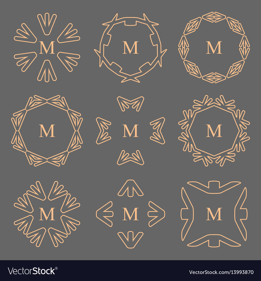 Abstract arrow line frame monogram logos set