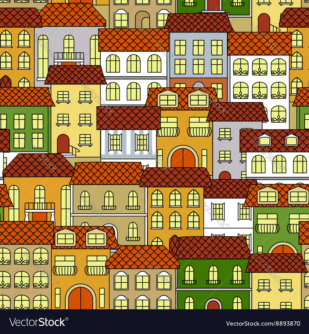 Cityscape seamless pattern with colorful houses