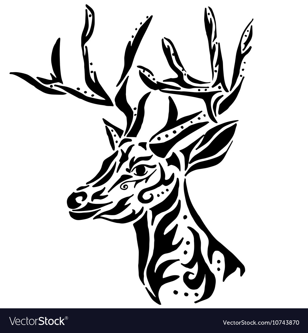 Deer for coloring or tattoo isolated on white