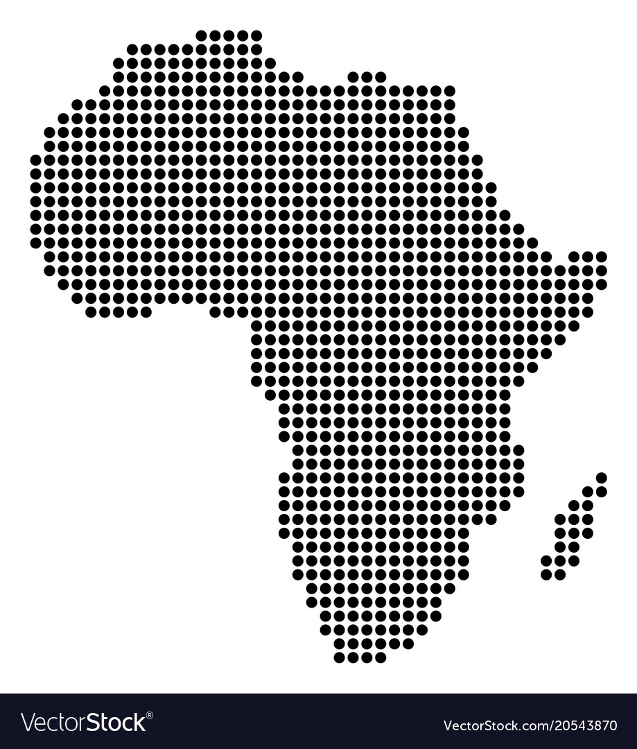 Dotted pixel africa map